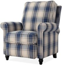 Blue Plaid Pushback Recliner Arm Chair Recliners Armchair Country Style Chairs