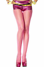 Hot Pink Fishnet Pantyhose with Faux Leg Wrap Music Legs 5049