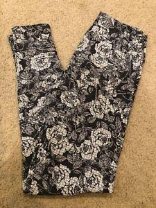 LulaRoe Silver Black White Gray Floral Geometric Paisley OS Leggings Rose Realis