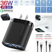 36W QC3.0 PD Dual Port Quick Wall Charger Adapter Power IOS Type-C Android Cable