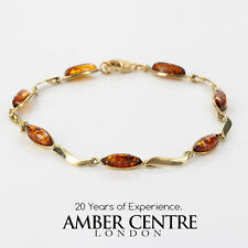 ITALIAN MADE BALTIC AMBER BRACELET IN 9CT GOLD -GBR076 RRP£325!!!