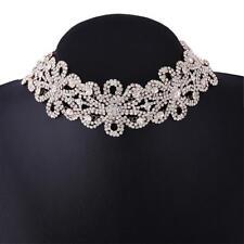 Elegantes Statement Collier Halsband Strass Blumen Blüten Silber Gold Floral