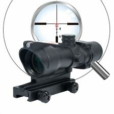ACOG Style 4X 32mm Red Optic Fiber, Red Dot Crosshair Illuminated Rifle Scope