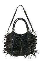 RAJ 164668 Womens Leather Dual Rolled Top Handles Fringe Detail Hobo Bag Black