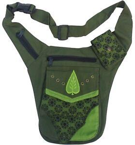 Fair Trade Festival Boho Cotton Travel Leaf Design Passport Bag Utility Hip Belt