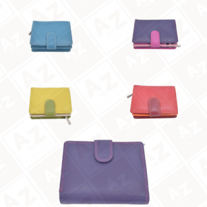 Vitali's Coral Leather Folded Purse in Berry, Blue, Green, Purple & Red