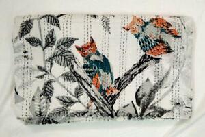 Indian Kantha Quilt Bedding Throw Reversible Bedspread Cotton  Handmade
