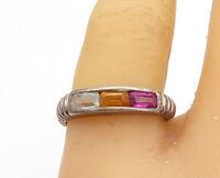 925 Silver - Vintage Citrine Amethyst & Aquamarine Band Ring Sz 8.5 - R17645