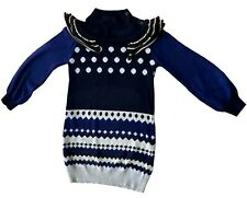 French Designer Catimini Knit Dark Blue Girls Dress Size US 7 / Eur 120