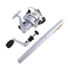 Portable Mini Aluminum Alloy Pocket Pen Fishing Rod Pole Reel + Line Silver