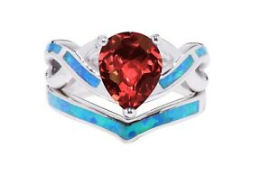 White Gold Finish Pear Drop Garnet with Opal Silver Ring Set