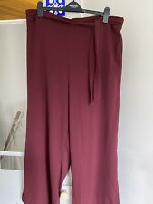 Brand New WitH Tags New Look Curves Ladies Burgandy Wide Leg Trousers Size 26