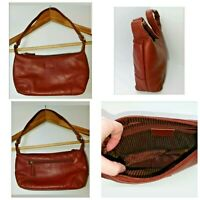 Nova Real Leather Zip Closure Zip Pocket Red Shoulder Bag L 8'' x H 5.5''