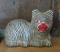 Large Black & White Striped Cat Carved Wood Wooden Folk Art Country Primitive