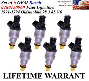 Set of 6  Genuine  Bosch  OEM Fuel Injectors For 1991-1994 Oldsmobile 98 3.8L V6