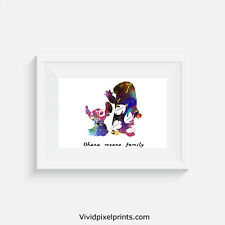 Lilo and Stitch, print, poster, disney, quote, wall art, ohana means family