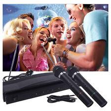 Dual Wireless Cordless DJ Karaoke Mic Microphone System Wedding Church Function