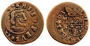 Spain- FALSA DE EPOCA. Felipe IV. 16 Maravedis 1663 MR. Cobre 4,6 g. Escasa
