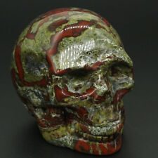 "Skull Statue 3"" Dragon Bloodstone Carved Gemstone Figurine Halloween Decor1038"