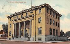 Creston Iowa~US Post Office~House Next Door~Barn Behind~1908 Postcard