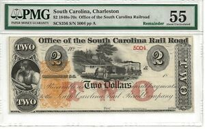$2.00 Note 1840- 1870's  Office of the South Carolina Rail Road PMG 55
