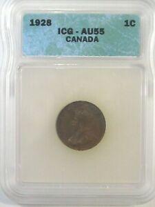 Choice AU 1928 Small Cent Penny CANADA ICG AU55. #15