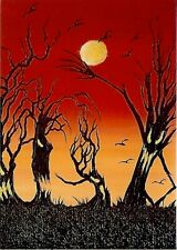 PRINT of ACEO GLOSSY Creepy Animated Fun Trees Spooky Fantasy Art PRINT HYMES