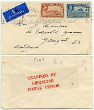 GIBRALTAR CENSOR TAPE No.1 to SCOTLAND 1940 AIRMAIL MACHINE SLOGAN 3d + 1d