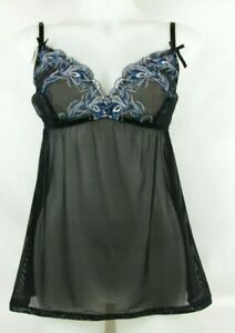Cacigue Black & Blue Floral Embroidered Sheer Teddy Lingerie Women's Size 14/ 16