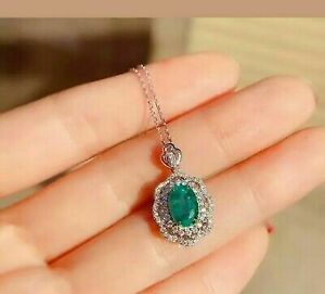 """Vintage 3.CT Emerald Diamond Pendant Necklace 18"""" Chain In 14K White Gold Over"""