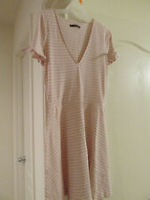 Abercrombie & Fitch Fit Flare Dress XL pink Striped Pink Bow Tie V-neck Ribbed