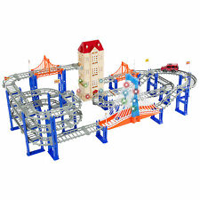 156pc Car Pretend Race Track Playset 3 Level Highway Tracks Electric SUV Ca