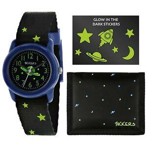 Tikkers Space Quartz Black Dial Nylon Strap Boys Watch Set ATK1033