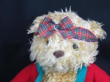 HALLMARK SHAGGY BLONDE TEDDY BEAR SITS DOWN CHRISTMAS SWEATER SNOWMAN PLUSH