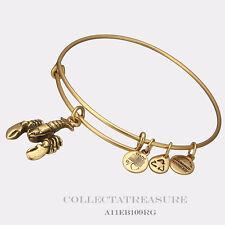 Authentic Alex and Ani Lobster Rafaelian Gold Charm Bangle