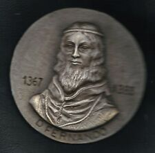 "KING D. FERDINAND I / 1367-1383 / BIG BRONZE SILVERED RUSTIC MEDAL / 4.3"". M31"