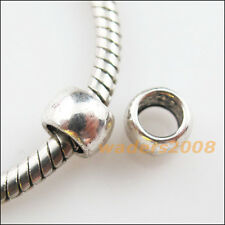 25 New Charms Tibetan Silver Tone Smooth Round Tube Spacer Beads 7mm