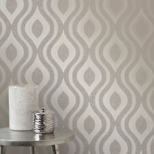 QUARTZ GEOMETRIC WALLPAPER PEWTER - FINE DECOR FD41978 GLITTER METALLIC