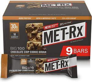 MET-Rx Big 100 Colossal Protein Bar, Chocolate Chip Cookie Dough, 100 g Bar...