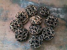 ♥Nr. 121- Tolle alte Glasknöpfe 10 Stück Knopfböden schwarz gold DM 22,5 mm♥