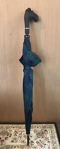 Vintage Aramis Tartan Plaid Umbrella Scottie Dog's Head Handle Scottish Terrier