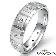 Diamond Eternity Wedding Mens Band Bezel Bevel Edge Shining Platinum Ring 0.15Ct