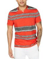 INC Mens T-Shirt Black White Red Size 3XL Henley Striped Colorblocked #343