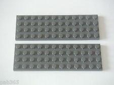 Lego 2 Plaques 4x12 gris foncé Neuves / New Dark Bluish Gray Plate REF 3029