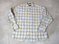 Pendleton Button Up Polo Shirt Adult Extra Large Yellow Blue Plaid Casual Mens