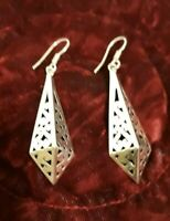 Vintage Estate Sterling 925 Drop Filigree earrings length 2.5inches