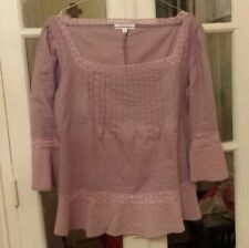TRES CHIC VANESSA BRUNO PARIS SZ 40/US 8 MAUVE BLOUSE TOP LACE
