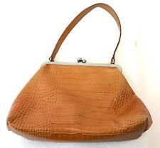 "Nine West Small Tan 10"" Faux Croc Alligator Baguette Shoulder Bag Purse Handbag"