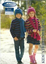 Shepherd KID'S STRIPED SWEATER BEANIE & SCARF 12 PLY 2-12 years Booklet 5042