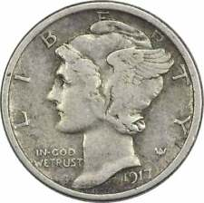 1917 Mercury Silver Dime Vf Uncertified
